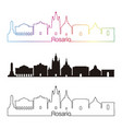 rosario skyline linear style with rainbow vector image vector image