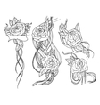 rose tattoo set vector image vector image
