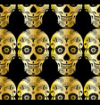 seamless pattern of golden sugar skull vector image vector image