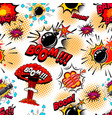 seamless pattern with comic style bomb burst vector image vector image