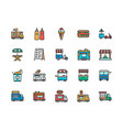 set food truck color line icons fried chicken vector image