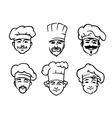 Set of six chef or cooks heads vector image vector image