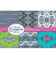 Set of six ethnic seamless patterns Geometric vector image vector image