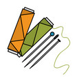 sewing thread tubes with needles and pins vector image vector image