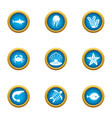 shallow icons set flat style vector image vector image