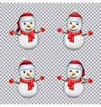 snowman in Santa hat vector image
