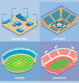 sport stadium flat isometric icon set vector image vector image