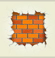 square hole in the brick wall vector image vector image