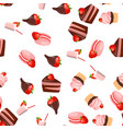 strawberry chocolate cake vector image