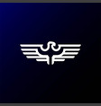 strong eagle hawk falcon line outline logo design vector image