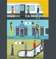 subway station banner concept set flat style vector image