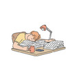 tired student boy falling asleep on pile of books vector image