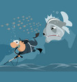 underwater hunter and big fish vector image