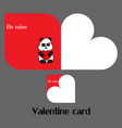 valentine card with panda vector image vector image