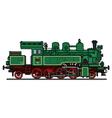 Vintage green steam locomotive vector image vector image