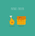 waffles with chicken leg friends forever vector image vector image