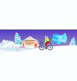 woman cycling with merry christmas flag holidays vector image