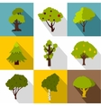 Woody plants icons set flat style vector image vector image