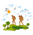 young active couple hiking through meadows and vector image