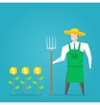 Businessman farmer with dollar plants vector image