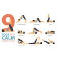 9 yoga poses for calm correction concept vector image vector image