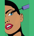 a girl with a short hair doing make up woman vector image