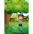 A smiling young man near the tree inside the gated vector image vector image