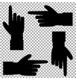 black silhouette of hand with pointing in various vector image vector image