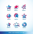 Blue red star logo icon set vector image