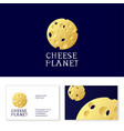 cheese planet logo shop holes space object vector image