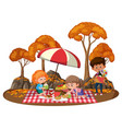 children doing picnic in park with many vector image vector image