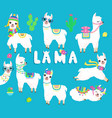 collection with cute white llamas cacti and vector image vector image