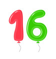 color balloons with numbers sixteen decoration vector image vector image