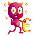 devil with euro sign on white background vector image vector image