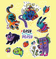 easy peasy stickers funny creatures vector image