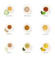 espresso icons set cartoon style vector image