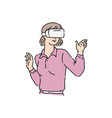 flat adult woman in virtual reality headset vector image