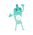 funny toothpaste character smiling - dental health vector image vector image