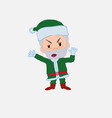green santa claus argues something with a gesture vector image vector image