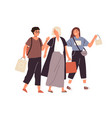 group happy female friends shopping flat vector image vector image