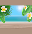 hello summer background with palm leaves and vector image