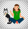 hippie girl with dog icon vector image vector image