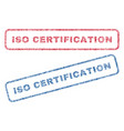 iso certification textile stamps vector image vector image