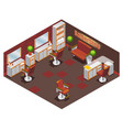 isometric barber shop interior concept vector image vector image