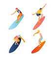 man boy surfing pose vector image
