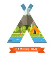 mountain lake campsite place in tourist tent shape vector image