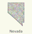 Nevada line art map vector image vector image