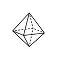 octahedron geometric shape projection dashed line vector image vector image