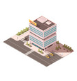 office building isometric mockup vector image