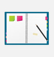 open blank note book with some stickies and pencil vector image vector image